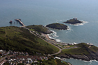 Aerial view of Mumbles Pier and Lighthouse in south Wales
