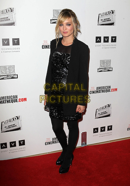 Carolina Crescentini.American Cinematheque 26th Annual Award Presentation To Ben Stiller 2012 Held At The Beverly Hilton Hotel, Beverly Hills, California, USA, .15th November 2012.full length black sequined sequin dress tights blazer jacket  .CAP/ADM/KB.©Kevan Brooks/AdMedia/Capital Pictures.