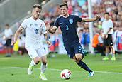 June 19th 2017, Kielce, Poland; UEFA European U-21 football championships, England versus Slovakia; Ben Chilwell (ENG) challenges Albert Rusnak (SLO)