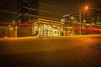 Late night long exposure shot of Sheppard-Yonge Metro Station, Toronto.