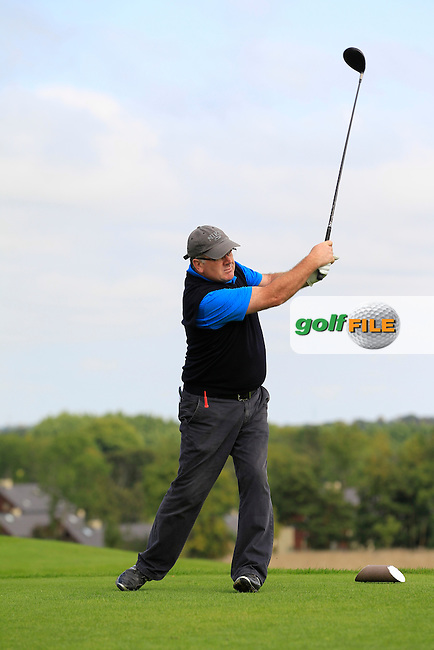 Paul Corcoran (Lisselan) on the 6th tee during the AIG Jimmy Bruen Shield Final between Lisselan &amp; Waterford in the AIG Cups &amp; Shields at Carton House on Saturday 20th September 2014.<br /> Picture:  Thos Caffrey / www.golffile.ie