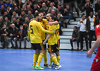 20200129 – Herentals , BELGIUM : Belgian players pictured celebrating after scoring during a futsal indoor soccer game between Armenia and  the Belgian Futsal Devils of Belgium on the first matchday in group B of the UEFA Futsal Euro 2022 Qualifying or preliminary round , Wednesday 29 th January 2020 at the Sport Vlaanderen sports hall in Herentals , Belgium . PHOTO SPORTPIX.BE | DAVID CATRY