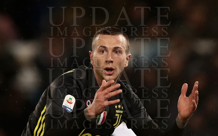 Football, Serie A: S.S. Lazio - Juventus, Olympic stadium, Rome, January 27, 2019. <br /> Juventus' Federico Bernardeschi reacts during the Italian Serie A football match between S.S. Lazio and Juventus at Rome's Olympic stadium, Rome on January 27, 2019.<br /> UPDATE IMAGES PRESS/Isabella Bonotto
