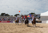 Wales attack during the Wales v England match at the Asahi Beach Polo Championship  at Sandbanks, Poole, England on 10 July 2015. Photo by Andy Rowland.