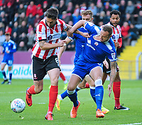Lincoln City's Ollie Palmer vies for possession with Chesterfield's Ian Evatt<br /> <br /> Photographer Andrew Vaughan/CameraSport<br /> <br /> The EFL Sky Bet League Two - Lincoln City v Chesterfield - Saturday 7th October 2017 - Sincil Bank - Lincoln<br /> <br /> World Copyright &copy; 2017 CameraSport. All rights reserved. 43 Linden Ave. Countesthorpe. Leicester. England. LE8 5PG - Tel: +44 (0) 116 277 4147 - admin@camerasport.com - www.camerasport.com