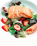 USA, Alaska, fresh salmon is served on a bed of lettuce at the Redoubt Bay Lodge in Redoubt Bay