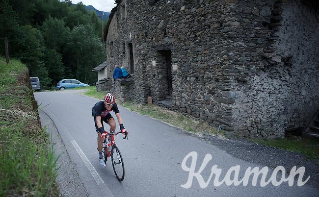 Lars Bak (DEN/Lotto-Soudal) up the Passo Del Mortirolo (1854m) on stage 16: Pinzolo - Aprica (174km) of the 2015 Giro d'Italia