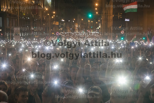 People participate in a demonstration against the outcome of the general elections in Budapest, Hungary on April 21, 2018. ATTILA VOLGYI