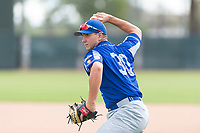 Team Italy first baseman Leonardo Seminati (30) warms up before an exhibition game against the Oakland Athletics at Lew Wolff Training Complex on October 3, 2018 in Mesa, Arizona. (Zachary Lucy/Four Seam Images)