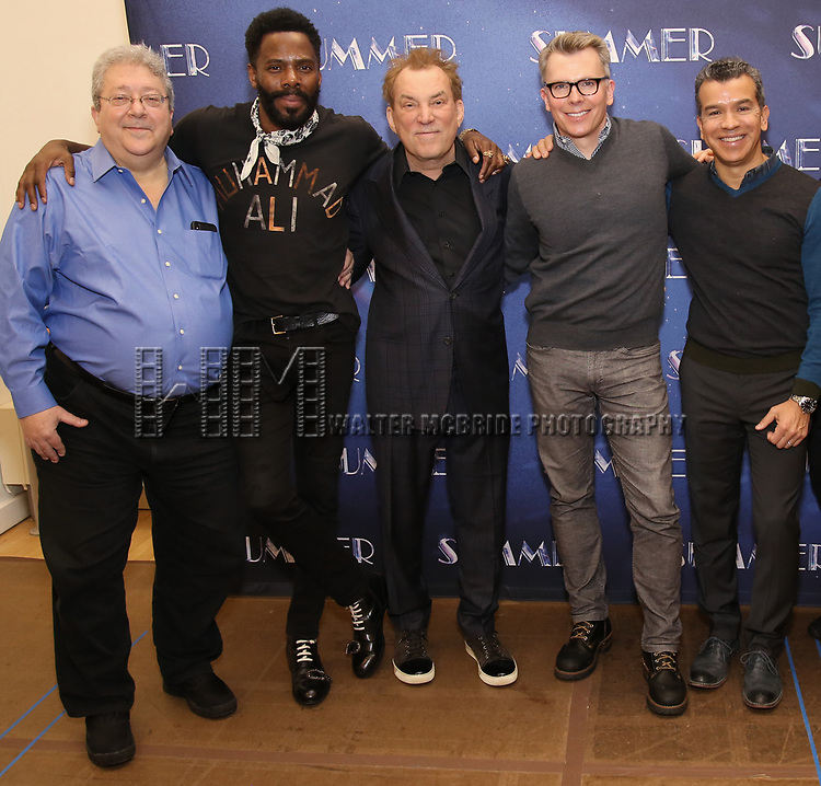 """Ron Melrose, Colman Domingo, Des McAnuff, Robert Gary, Sergio Trujillo attends the Meet & Greet for """"Summer: The Donna Summer Musical"""" on March 8, 2018 at the New 42nd Street Studios,  in New York City."""
