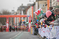 Fans at the elite women's field starting line at the IAAF World Half Marathon Championships 2016 in Cardiff, Wales on 26 March 2016. Photo by Mark  Hawkins / PRiME Media Images.