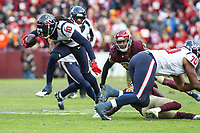 Landover, MD - November 18, 2018: Houston Texans wide receiver DeAndre Hopkins (10) breaks a tackle during the  game between Houston Texans and Washington Redskins at FedEx Field in Landover, MD.   (Photo by Elliott Brown/Media Images International)