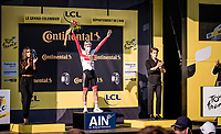 stage winner Tadej Pogačar (SVK/UAE-Emirates) on the podium<br /> <br /> Stage 15 Lyon to Grand Colombier (175km)<br /> <br /> 107th Tour de France 2020 (2.UWT)<br /> (the 'postponed edition' held in september)<br /> <br /> ©kramon