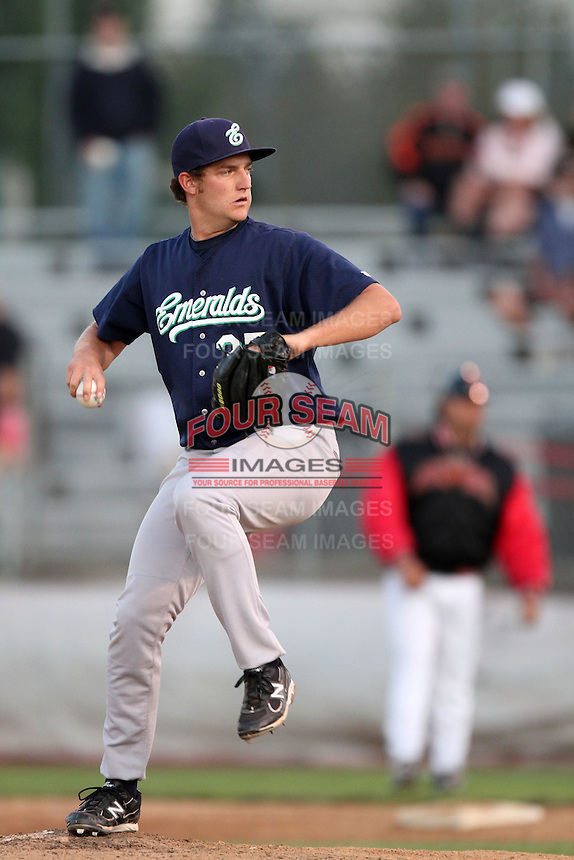 Eugene Emeralds pitcher Matt Andriese #35 before a game against Salem-Keizer the at Volcanoes Stadium on August 9, 2011 in Salem-Keizer,Oregon. Eugene defeated Salem-Keizer 13-7.(Larry Goren/Four Seam Images)