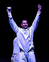BOGOTA – COLOMBIA – 28 – 05 – 2017: Bogdam Nikishin de Ucrania celebra la victoria sobre Marco Fichera, de Italia, durante la Final de Varones Mayores Epee del Gran Prix de Espada Bogota 2017, que se realiza en el Centro de Alto Rendimiento en Altura, del 26 al 28 de mayo del presente año en la ciudad de Bogota.  / Bogdam Nikishin from Ukraine, celebrate the victory over Marco Fichera from Italy, during the Final Senior Men´s Epee of the Grand Prix of Espada Bogota 2017, that takes place in the Center of High Performance in Height, from the 26 to the 28 of May of the present year in The city of Bogota.  / Photo: VizzorImage / Luis Ramirez / Staff.