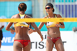 Azusa Futami &  Akiko Hasegawa (JPN), <br /> AUGUST 20, 2018 - Beach Volleyball : <br /> Women's Preliminary Round <br /> at Jakabaring Sport Center Beach Volleyball Court <br /> during the 2018 Jakarta Palembang Asian Games <br /> in Palembang, Indonesia. <br /> (Photo by Yohei Osada/AFLO SPORT)