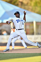 Asheville Tourists starting pitcher Breiling Eusebio (31) delivers a pitch during a game against the Rome Braves at McCormick Field on April 17, 2018 in Asheville, North Carolina. The Tourists defeated the Braves 1-0. (Tony Farlow/Four Seam Images)