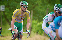 race leader Jimmy Angoulvent (FRA) sighs as the rain starts falling down<br /> <br /> 2013 Tour of Luxemburg<br /> stage 1: Luxembourg - Hautcharage (184km)