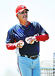 1 March 2010: Washington Nationals Senior Assistant to the General Manager in Player Development and Spring Instructor Tim Foli tosses batting practice at Space Coast Stadium in Viera, Florida. Mandatory Credit: Ed Wolfstein Photo