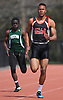Jovahn Williamson of Half Hollow Hills West races to a win in the open 200 meter dash with a time of 22.21 during the Dennis Walker Classic at Huntington High School on Saturday, April 15, 2017. He also anchored Hills West to victory in the 4x400 relay event.