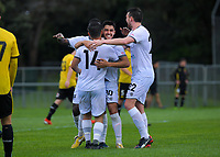Dylan Sacramento celebrates his 2nd goal during the ISPS Handa Premiership football match between Wellington Phoenix Reserves and Hawkes Bay United at Porirua Park in Wellington, New Zealand on Sunday, 10 November 2019. Photo: Dave Lintott / lintottphoto.co.nz