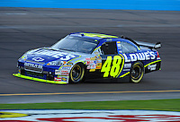Nov. 7, 2008; Avondale, AZ, USA; NASCAR Sprint Cup Series driver Jimmie Johnson during qualifying for the Checker Auto Parts 500 at Phoenix International Raceway. Mandatory Credit: Mark J. Rebilas-