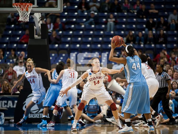SPOKANE, WA - MARCH 26, 2011: Kayla Pedersen, Stanford Women's Basketball vs University of North Carolina, NCAA West Regionals on March 26, 2011.