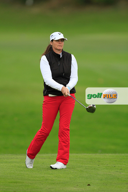 Hazel Kavanagh (Carr Golf Services) on the 16th tee during Round 2 of The Cassidy Golf 103rd Irish PGA Championship in Roganstown Golf Club on Friday 11th October 2013.<br /> Picture:  Thos Caffrey / www.golffile.ie