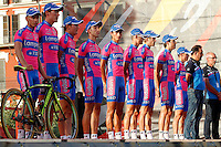Team Lampre-ISD during the official presentation of La Vuelta 2012. Damiano Cunego, Winner Anacona Gomez, Davide Cimolai, Denys Kostyuk, Oleksandr Kvachuk, Marco Marzano, Przemyslaw Niemiec, Morris Possoni and Davide Vigano. August 17,2012. (ALTERPHOTOS/Alfaqui/Paola Otero) /NortePhoto.com<br />