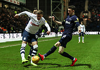 Preston North End's Brad Potts crosses under pressure from Derby County's Scott Malone  <br /> <br /> Photographer Andrew Kearns/CameraSport<br /> <br /> The EFL Sky Bet Championship - Preston North End v Derby County - Friday 1st February 2019 - Deepdale Stadium - Preston<br /> <br /> World Copyright © 2019 CameraSport. All rights reserved. 43 Linden Ave. Countesthorpe. Leicester. England. LE8 5PG - Tel: +44 (0) 116 277 4147 - admin@camerasport.com - www.camerasport.com