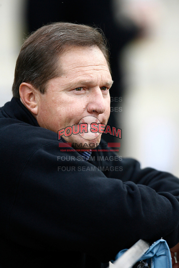 Baseball Player Agent Scott Boras before a Los Angeles Dodgers baseball game during the 2007 MLB season at Dodger Stadium, in Los Angeles, California. (Larry Goren/Four Seam Images)