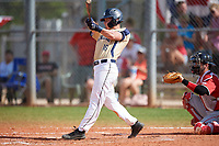 Mount St. Mary's Mountaineers shortstop Patrick Causa (16) bats during a game against the Ball State Cardinals on March 9, 2019 at North Charlotte Regional Park in Port Charlotte, Florida.  Ball State defeated Mount St. Mary's 12-9.  (Mike Janes/Four Seam Images)