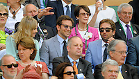 OIC - ENTSIMAGES.COM -  Bradley Cooper and Gerard Butler watch Andy Murray of Great Britain celebrates his win in the Gentlemen's Singles Final match against Novak Djokovic of Serbia of the Wimbledon Lawn Tennis Championships at the All England Lawn Tennis and Croquet Club 7th July 2013     Photo Ents Images/OIC 0203 174 1069