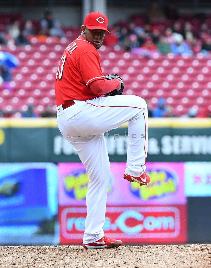 Cincinnati Reds Wandy Peralta (53) during a game against the Philadelphia Phillies on April 6, 2017 at Great American Ballpark in Cincinnati, OH. The Reds beat the Phillies 4-7.