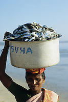 INDIA Andaman Island, Littel Andaman, Hutbay, market woman with fish catch at the beach /  INDIEN, Andamanen, Little Andaman, Hut Bay, Marktfrau mit Fischfang am Strand