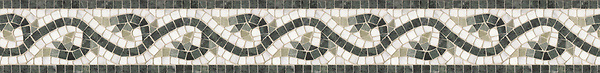 "5"" Amore border, a hand-cut stone mosaic, shown in tumbled Carrara, Verde Alpi, Verde Luna, and Spring Green."