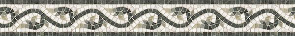 "5"" Amore border, a hand-cut stone mosaic, shown in tumbled Carrara, Verde Alpi, Verde Luna, and Spring Green."