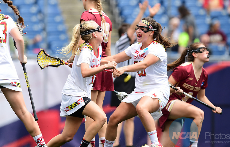 FOXBORO, MA - MAY 28:  Members of the Maryland Terrapins react after scoring a goal during the Division I Women's Lacrosse Championship held at Gillette Stadium on May 28, 2017 in Foxboro, Massachusetts. (Photo by Ben Solomon/NCAA Photos via Getty Images)