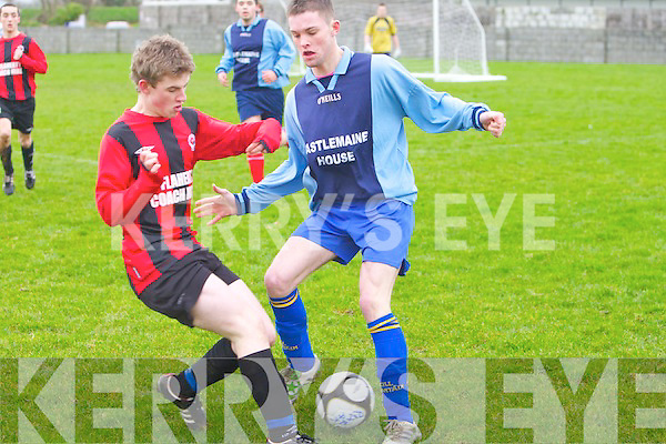 St Brendan's Park's Fionn Coakley and Castlemaine United's Gavin O'Brien...