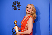 After winning the category of BEST PERFORMANCE BY AN ACTRESS IN A SUPPORTING ROLE IN A SERIES, LIMITED SERIES OR MOTION PICTURE MADE FOR TELEVISION for her role in &quot;Sharp Objects,&quot; actress Patricia Clarkson poses backstage in the press room with her Golden Globe Award at the 76th Annual Golden Globe Awards at the Beverly Hilton in Beverly Hills, CA on Sunday, January 6, 2019.<br /> *Editorial Use Only*<br /> CAP/PLF/HFPA<br /> Image supplied by Capital Pictures
