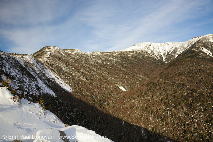 A view of the Agonies (bumps on left) along Old Bridal Path in the White Mountains of New Hampshire USA. The Old Bridal Path travels over these bumps.