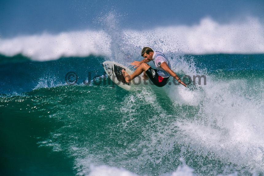 Lacanau, France. Gary Elkerton (AUS) competing in the Lacanau Pro, in the South West region of France. circa 1992 Photo: joliphotos.com