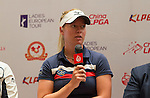 Nicole Broch Larsen speaks during the press conference at the beginning of World Ladies Championship 2016 on 09 March 2016 at Mission Hills Olazabal Golf Course in Dongguan, China. Photo by Victor Fraile / Power Sport Images