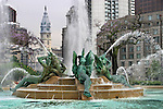 Swann Memorial Fountain With City Hall In The Background, Logan Square, Philadelphia, Pennsylvania