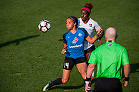 Kansas City, MO - Wednesday August 16, 2017: Sydney Leroux Dwyer, Mandy Freeman during a regular season National Women's Soccer League (NWSL) match between FC Kansas City and Sky Blue FC at Children's Mercy Victory Field.