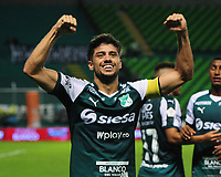 PALMIRA - COLOMBIA, 03-08-2019: Matias Cabrera del Cali celebra después de anotar el segundo gol de su equipo durante partido entre Deportivo Cali y La Equidad por la fecha 4 de la Liga Águila II 2019 jugado en el estadio Deportivo Cali de la ciudad de Palmira. / Matias Cabrera of Cali celebrates after scoring the second goal of his team during match between Deportivo Cali and La Equidad for the date 4 as part Aguila League II 2019 played at Deportivo Cali stadium in Palmira city. Photo: VizzorImage / Nelson Rios / Cont
