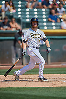 Jared Walsh (14) of the Salt Lake Bees follows through on a swing during a game against the Fresno Grizzlies at Smith's Ballpark on September 3, 2018 in Salt Lake City, Utah. The Grizzlies defeated the Bees 7-6. (Stephen Smith/Four Seam Images)
