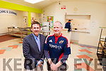 Principal of Listowel Community College Cathal Fitzgerald pictured with Ken Boland from The School Food Company as they install the new zero junk kitchen, which will be ready when the school reopens in September.