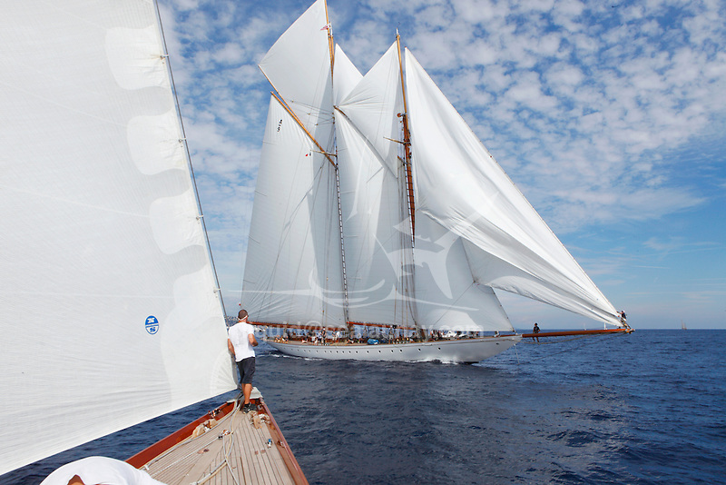 "Elena and Shamrock V (JK3) during ""Les Voiles de Saint Tropez"", France.."