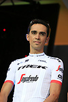 Alberto Contador (ESP) Trek-Segafredo team on stage at the Team Presentation in Burgplatz Dusseldorf before the 104th edition of the Tour de France 2017, Dusseldorf, Germany. 29th June 2017.<br /> Picture: Eoin Clarke | Cyclefile<br /> <br /> <br /> All photos usage must carry mandatory copyright credit (&copy; Cyclefile | Eoin Clarke)
